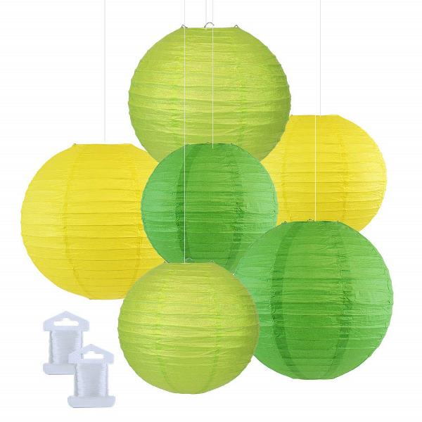 6pcs Assorted Size Decorative Round Hanging Paper Lanterns (Color: Green, Light Green, Lemon Yellow) - Premier