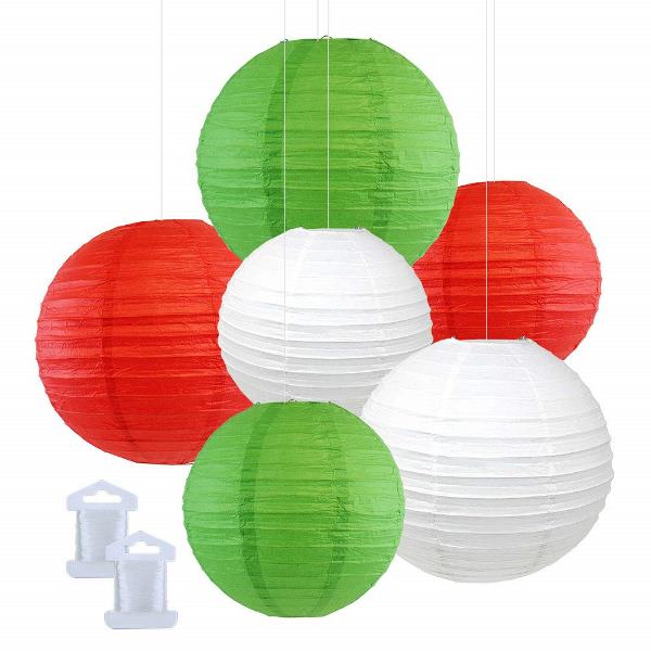 6pcs Assorted Size Decorative Round Hanging Paper Lanterns (Color: Green, Red, White) - Premier