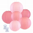 6pcs Assorted Size Decorative Round Hanging Paper Lanterns (Color: Hot Pink, Pale Pink, Pink) - Premier