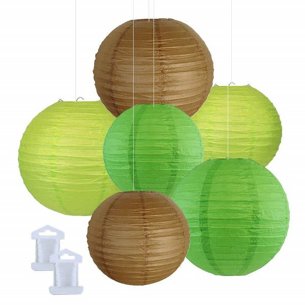6pcs Assorted Size Decorative Round Hanging Paper Lanterns (Color: Light Green, Green, Brown) - Premier
