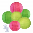 6pcs Assorted Size Decorative Round Hanging Paper Lanterns (Color: Magenta, Green, Light Green) - Premier