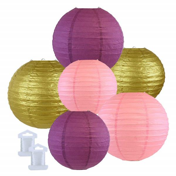 6pcs Assorted Size Decorative Round Hanging Paper Lanterns (Color: Mulberry, Pink, Gold) - Premier
