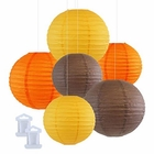 6pcs Assorted Size Decorative Round Hanging Paper Lanterns (Color: Pineapple, Orange, Slate Brown) - Premier