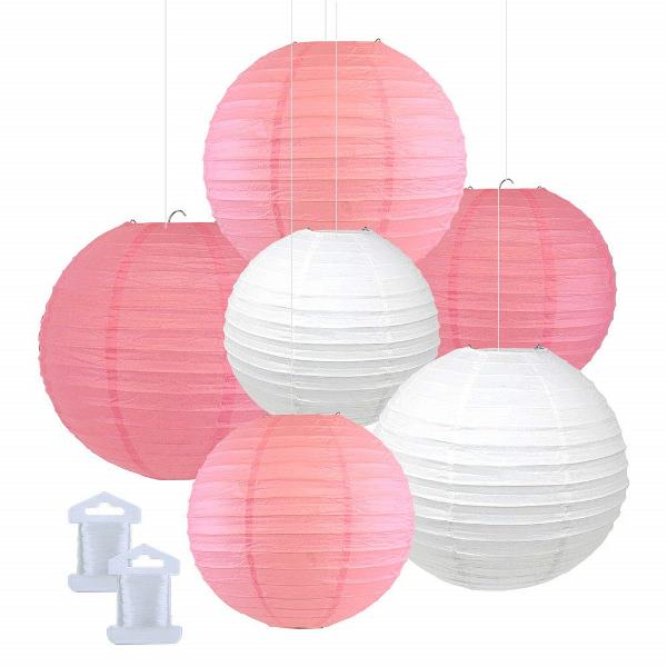 6pcs Assorted Size Decorative Round Hanging Paper Lanterns (Color: Pink, Hot Pink, White) - Premier