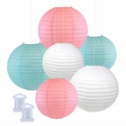 6pcs Assorted Size Decorative Round Hanging Paper Lanterns (Color: Pink, Sky Blue, White) - Premier