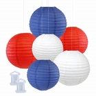 6pcs Assorted Size Decorative Round Hanging Paper Lanterns (Color: Red, White, Royal Blue) - Premier