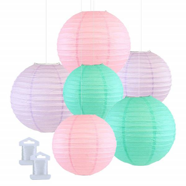 6pcs Assorted Size Decorative Round Hanging Paper Lanterns (Color: Seafoam, Pale Pink, Lavender) - Premier