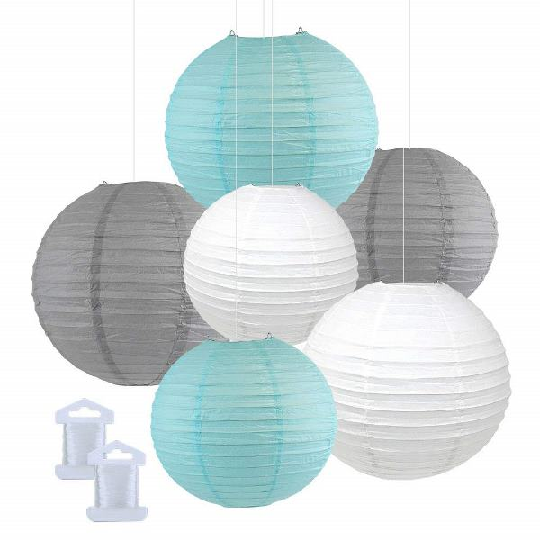 6pcs Assorted Size Decorative Round Hanging Paper Lanterns (Color: Sky Blue, Slate Grey, White) - Premier