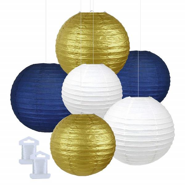 6pcs Assorted Size Decorative Round Hanging Paper Lanterns (Color: White, Gold, Navy) - Premier