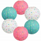 6pcs Donut Party 12-inch Sprinkles Paper Lanterns - Premier