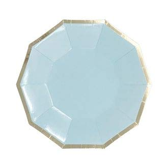 7.25in Decagon Decorative Dessert Paper Plates (24pcs) - Sky Blue with Gold Foil Trim - Premier