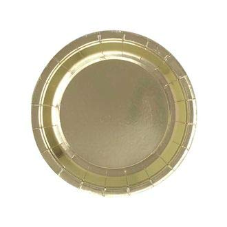7.25in Round Decorative Dessert Paper Plates (24pcs) - Metallic Gold - Premier