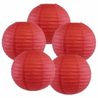 "8"" Dark Red Chinese Paper Lanterns (Set of 5, 8-inch, Dark Red) - Premier"