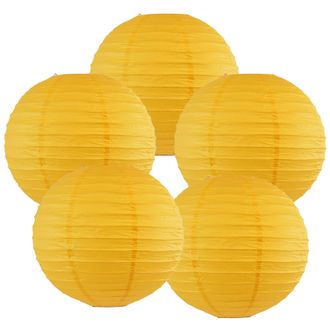 "8"" Pineapple Yellow Chinese Paper Lanterns (Set of 5, 8-inch, Pineapple Yellow) - Premier"