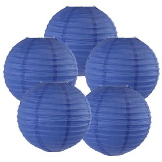 "8"" Royal Blue Chinese Paper Lanterns (Set of 5, 8-inch, Royal Blue) - Premier"