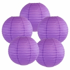 "8"" Royal Purple Chinese Paper Lanterns (Set of 5, 8-inch, Royal Purple) - Premier"