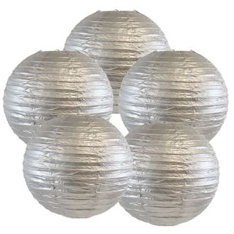 """8"""" Silver Chinese Paper Lanterns (Set of 5, 8-inch, Silver) - Premier"""