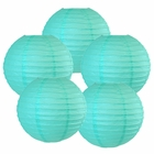 "8"" Turquoise Chinese Paper Lanterns (Set of 5, 8-inch, Turquoise) - Premier"