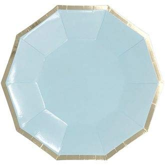9in Decagon Decorative Paper Plates (24pcs) - Sky Blue with Gold Foil Trim - Premier