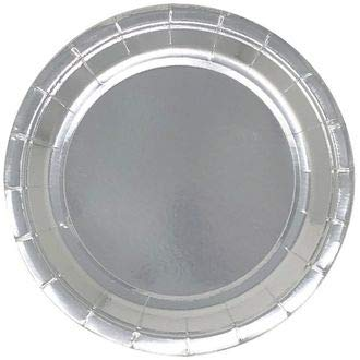 9in Round Decorative Paper Plates (24pcs) - Metallic Silver - Premier