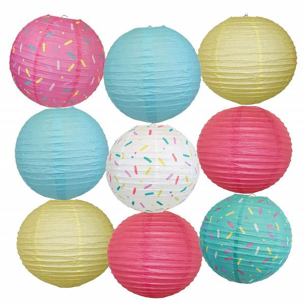 9pc Donut Party 12inch Sprinkles Paper Lanterns (Assorted #2) - Premier