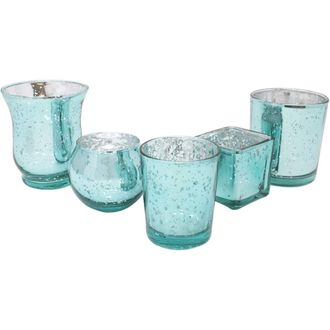 Aqua 5pcs Assorted (Size, Style) Mercury Glass Votive Tealight Candle Holder Set - Premier