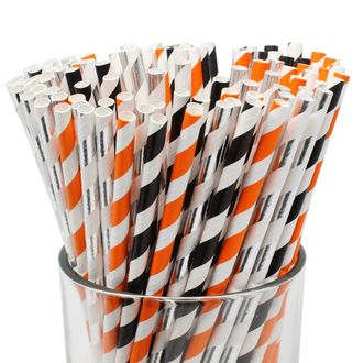 Assorted 100pcs Premium Biodegradable Striped Paper Straws - Black/Orange/Metallic Silver Striped - Premier