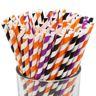 Assorted 100pcs Premium Biodegradable Striped Paper Straws - Black/Purple/Orange Striped - Premier