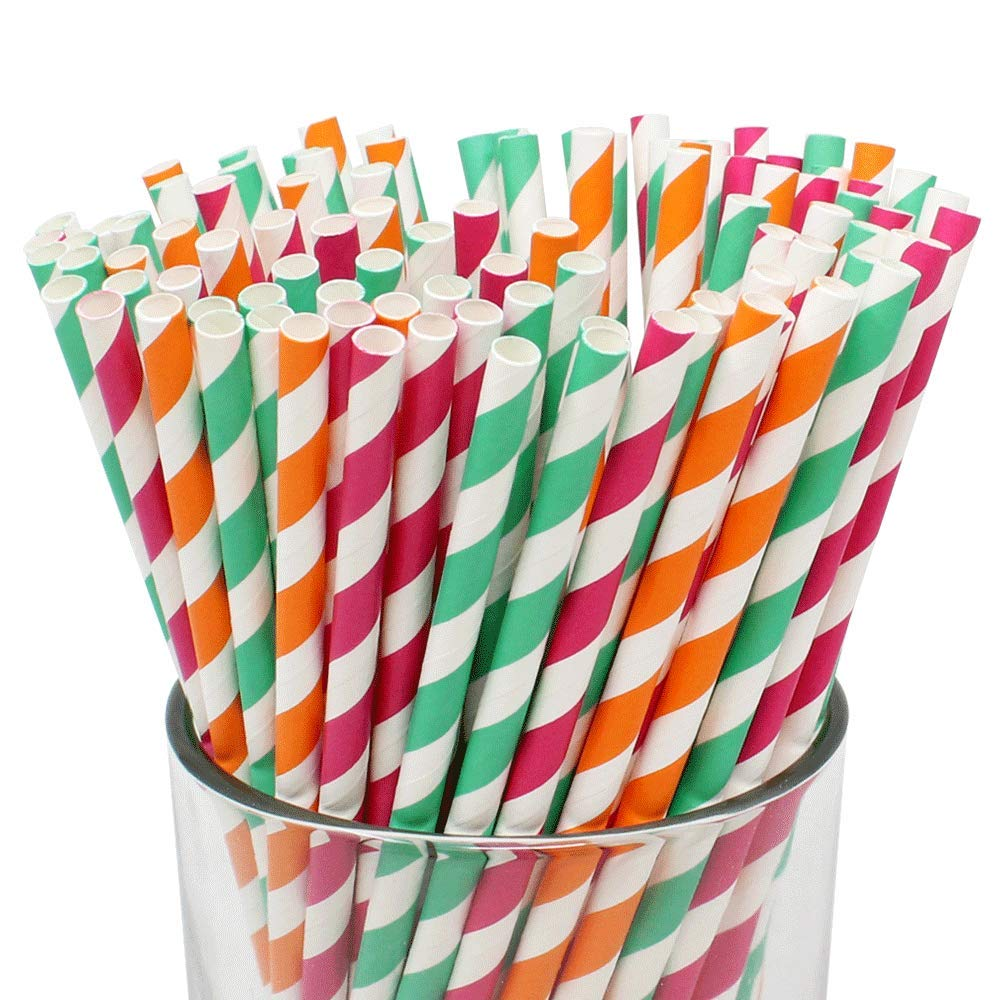 Assorted 100pcs Premium Biodegradable Striped Paper Straws - Fuchsia/Orange/Turquoise Striped - Premier