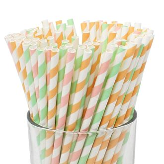 Assorted 100pcs Premium Biodegradable Striped Paper Straws - Light Pink/Apricot/Mint Striped - Premier