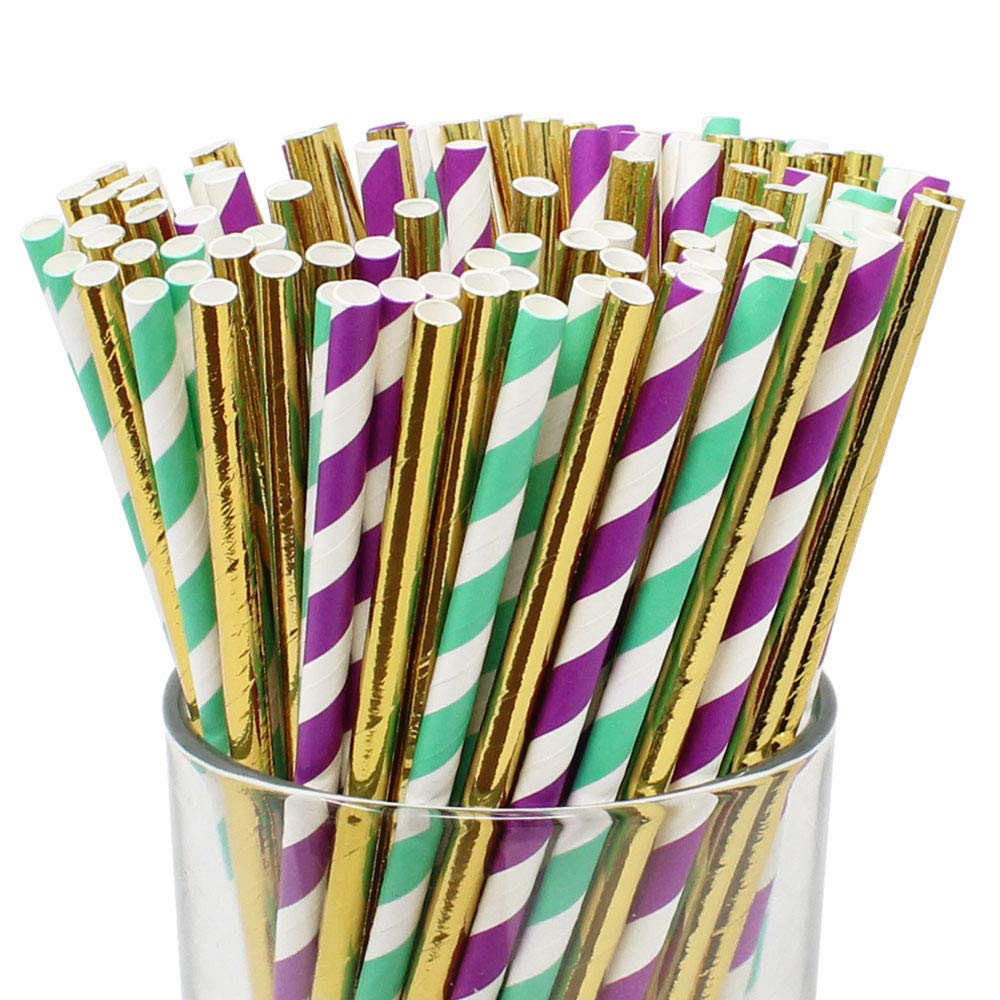 Assorted 100pcs Premium Biodegradable Striped Paper Straws - Purple/Turquoise Striped with Solid Metallic Gold - Premier