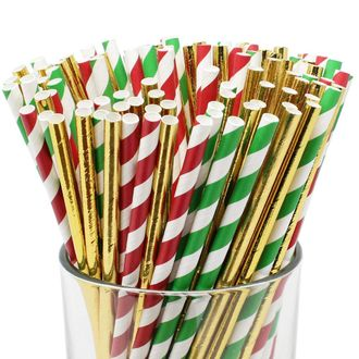 Assorted 100pcs Premium Biodegradable Striped Paper Straws - Red/Green Striped with Solid Metallic Gold - Premier