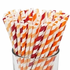 Assorted 100pcs Premium Biodegradable Striped Paper Straws - Red/Orange/Apricot Striped - Premier