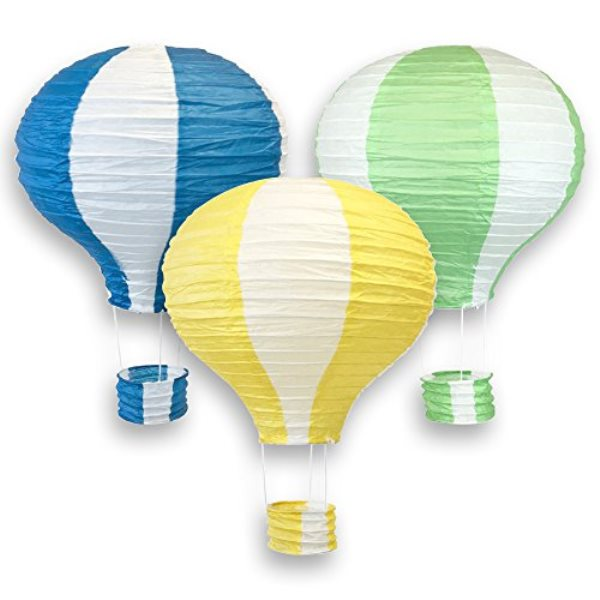 Assorted 12-Inch Hot Air Balloon Paper Lanterns (3pcs, Blue/Pineapple Yellow/Green) - Premier
