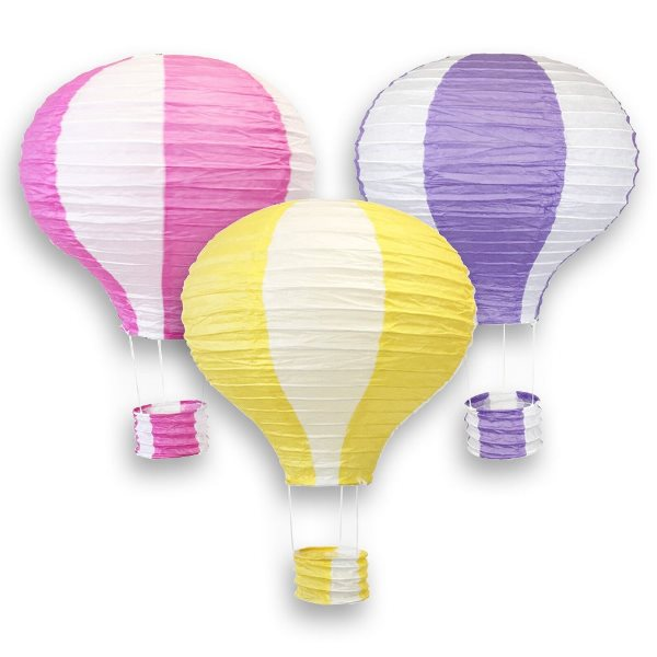 Assorted 12-Inch Hot Air Balloon Paper Lanterns (3pcs, Bubblegum Pink/Pineapple Yellow/Purple) - Premier
