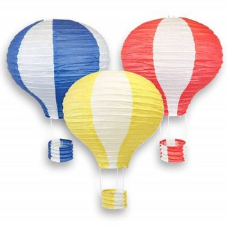 Assorted 12-Inch Hot Air Balloon Paper Lanterns (3pcs, Royal Blue/Pineapple Yellow/Red) - Premier