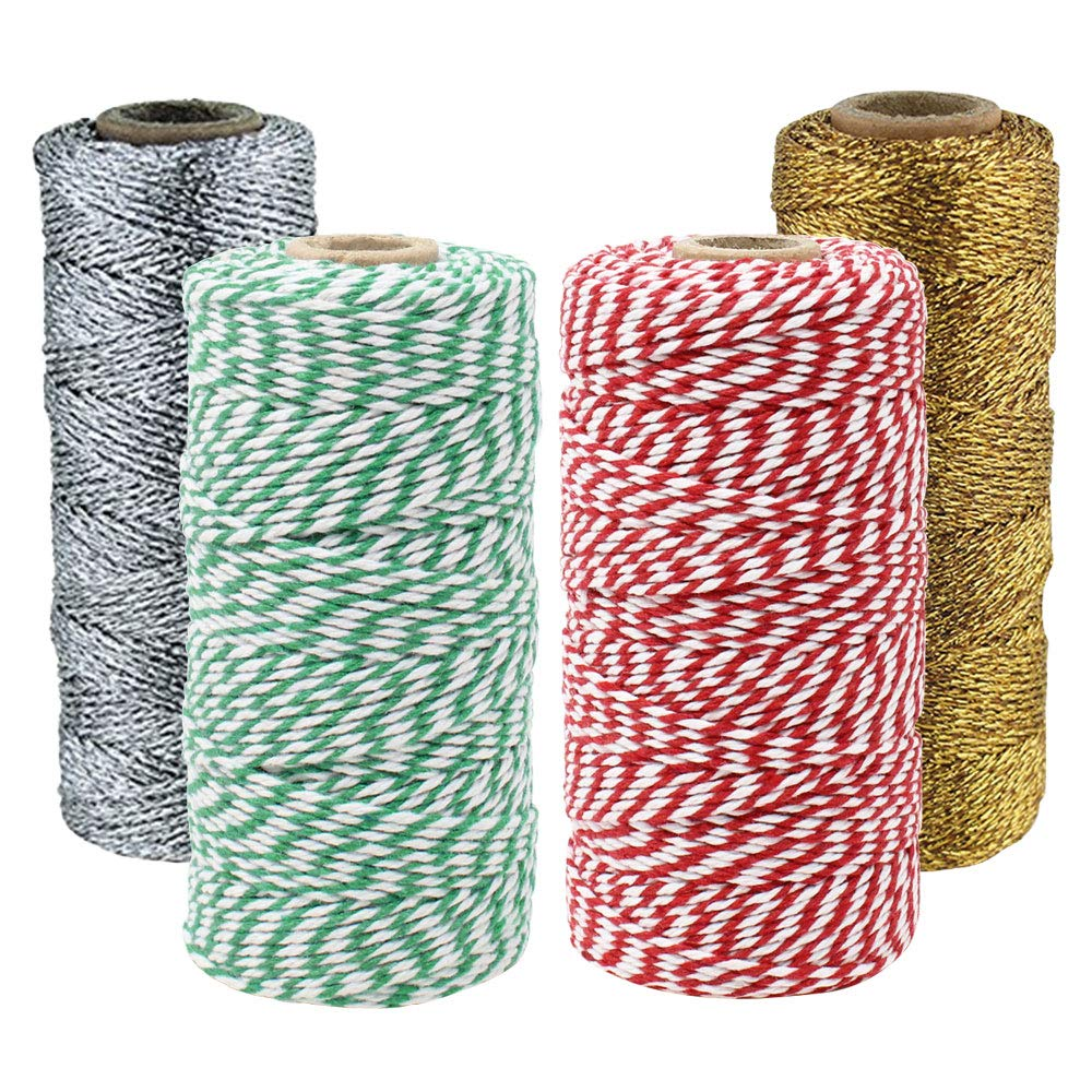 Assorted Christmas Themed Bakers Twine 11ply 12ply 55yd 110yd (4pc)  - Premier