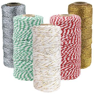 Assorted Christmas Themed Bakers Twine 11ply 12ply 55yd 110yd (5pc)  - Premier