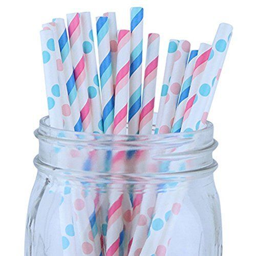Assorted Color & Pattern 100pcs Assorted Color & Pattern Premium Biodegradable Party Paper Straws � Pinks/Blues - Premier