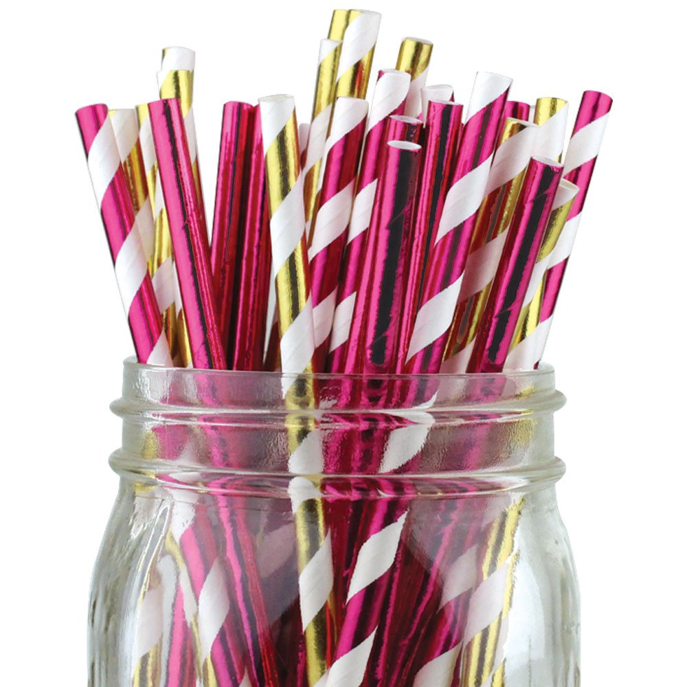 Assorted Color & Pattern 100pcs Premium Biodegradable Party Paper Straws � Metallic Gold/Metallic Pink - Premier