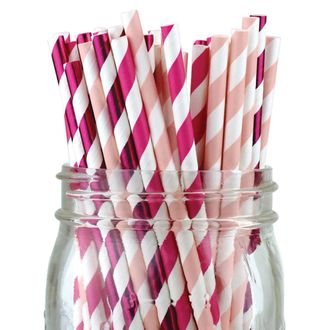 Assorted Color & Pattern 100pcs Premium Biodegradable Party Paper Straws – Metallic Pink/Pinks - Premier
