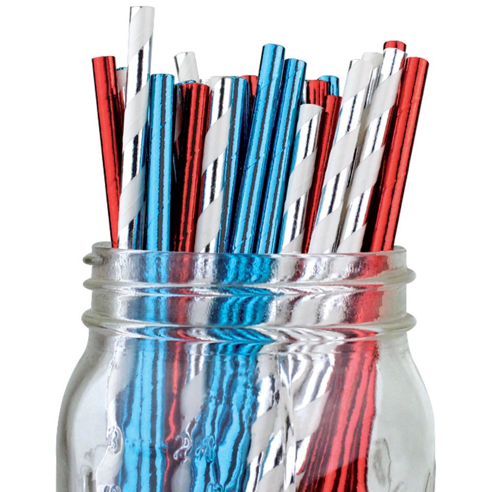 Assorted Color & Pattern 100pcs Premium Biodegradable Party Paper Straws � Metallic Silver/Metallic Blue/Metallic Red - Premier