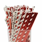 Assorted Decorative Birch Branch Paper Straws 200pcs - Birch Branch w/Metalic Striped and Solid Red - Premier