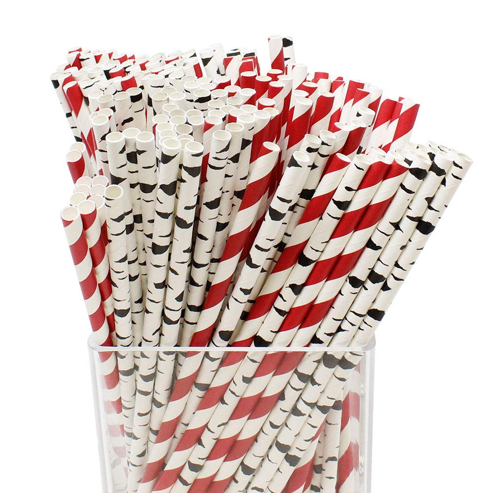 Assorted Decorative Birch Branch Paper Straws 200pcs - Lumberjack Style - Premier