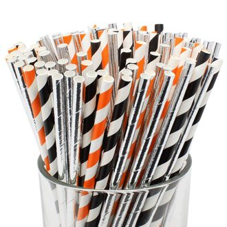 Assorted Decorative Striped Paper Straws 100pcs - Black/Orange Striped w/Solid Metallic Silver - Premier