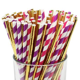 Assorted Decorative Striped Paper Straws 100pcs - Fuschia/Purple Striped w/Solid Metallic Gold - Premier