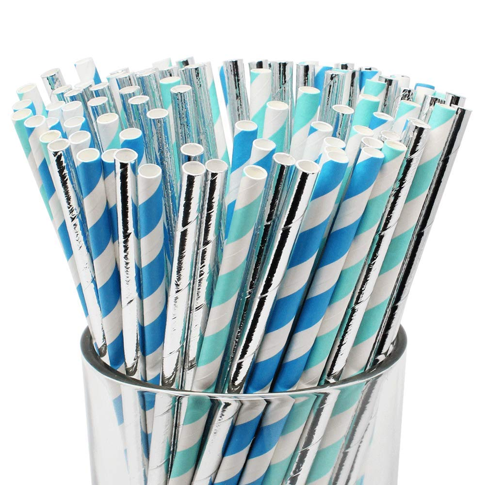 Assorted Decorative Striped Paper Straws 100pcs - Light Blue/Blue Striped w/Solid Metallic Silver - Premier