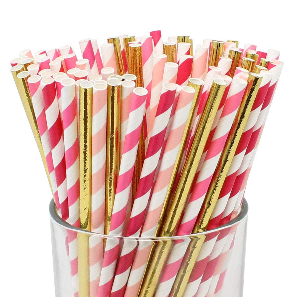 Assorted Decorative Striped Paper Straws 100pcs - Light Pink/Fuchsia/Bubblegum Striped w/Solid Metallic Gold - Premier