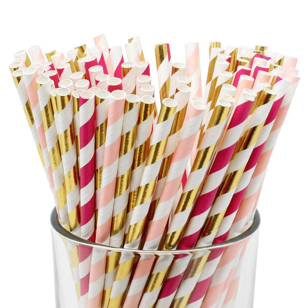 Assorted Decorative Striped Paper Straws 100pcs - Light Pink/Fuchsia/Metallic Gold Striped - Premier