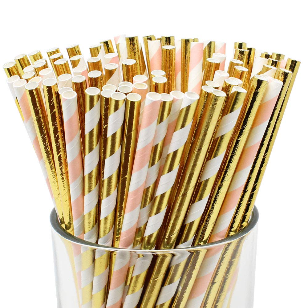 Assorted Decorative Striped Paper Straws 100pcs - Light Pink/Metallic Gold Striped w Solid Metallic Gold - Premier